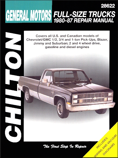 chevrolet gmc pick up truck repair service manual 1980 1987 rh themotorbookstore com 1987 GMC High Sierra Big 10 1987 GMC Sierra Classic 2500