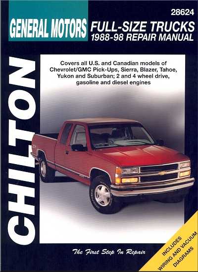 Chevy, GMC Pick-ups Repair Manual 1988-1998 on 1988 gmc s15 vacuum diagram, 1978 gmc ignition wiring diagram, 1998 chevy 2500 wiring diagram, 1995 gmc tail light wiring diagram, chevy p30 motorhome wiring diagram, 2001 gmc yukon stereo wiring diagram, 1976 chevy corvette wiring diagram, 2011 gmc sierra radio wiring diagram, 89 chevy 4x4 wiring diagram, 1988 gmc 3500 specs, 1988 gmc truck interior, 99 gmc jimmy vacuum line diagram, 92 dakota fuse diagram, gmc truck engine diagram, fuse box diagram, 2003 toyota 4runner radio wiring diagram, 1994 toyota pickup fuel pump wiring diagram, 1989 gmc wiring diagram, 1988 gmc heavy duty trucks, 88 ford f-150 wiring diagram,