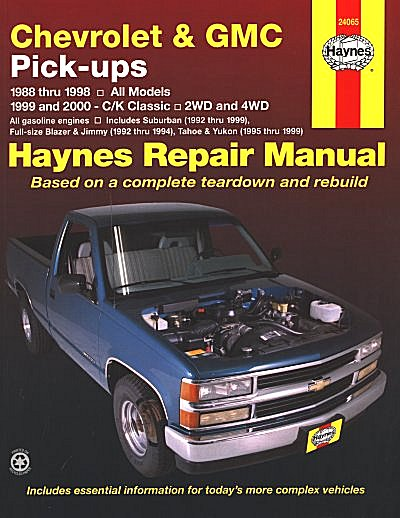 blazer jimmy tahoe yukon denali repair manual 1988 2000 haynes rh themotorbookstore com 1994 chevy silverado owners manual free download 1994 chevy 1500 manual transmission fluid