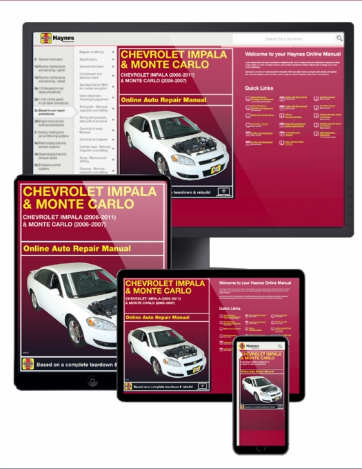 Chevy Impala / Monte Carlo Online Service Manual 2006-2011
