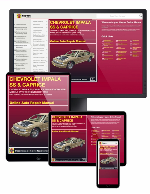 Chevy Impala SS & Buick Roadmaster Online Repair Manual 1991-1996