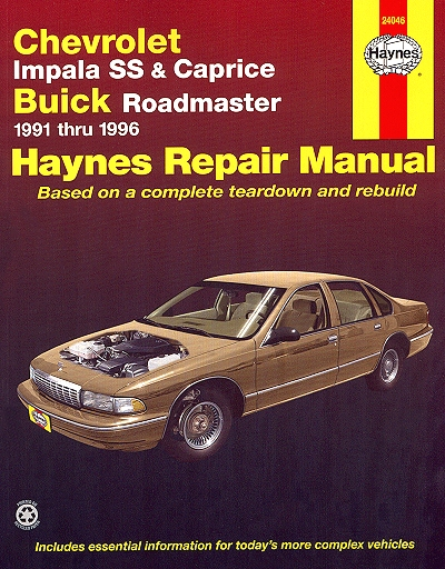 chevy impala ss caprice buick roadmaster repair manual 1991 1996 rh themotorbookstore com chevrolet caprice owners manual 1989 chevy caprice repair manual