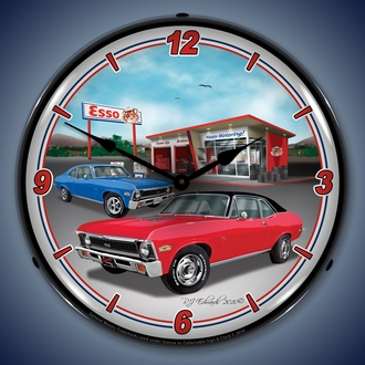 Chevy Nova Wall Clocks, LED Lighted