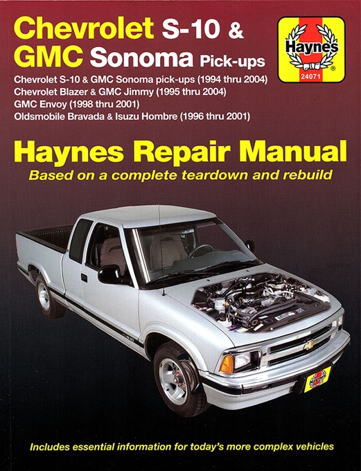 chevy s10 sonoma blazer jimmy bravada repair manual 1994 2004 rh themotorbookstore com chevy s10 service manual pdf chevy s10 service manual