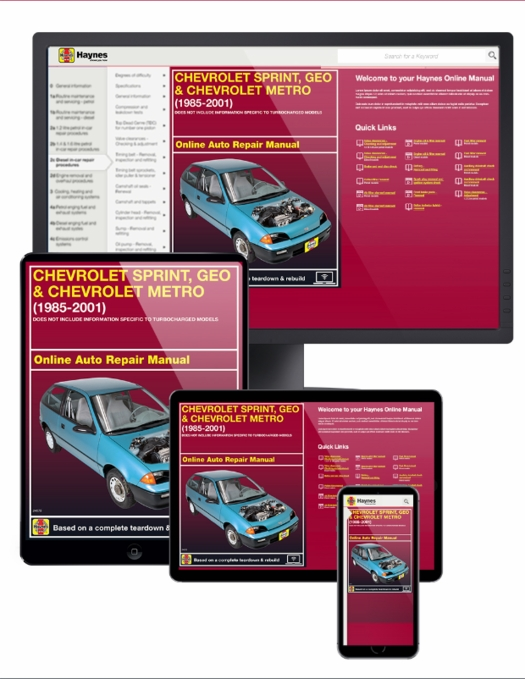 Chevy Sprint & Geo Metro Online Service Manual, 1985-2001