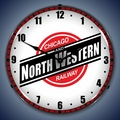 Chicago North Western Railroad Wall Clock, LED Lighted