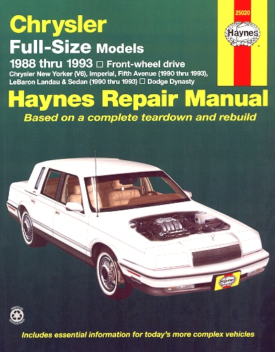 new yorker fifth avenue lebaron dynasty repair manual 1988 1993 rh themotorbookstore com haynes automotive repair manual haynes automotive repair manuals online