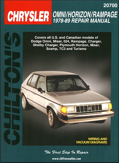 Omni  Rampage  Shelby Charger  Horizon Repair Manual 1978