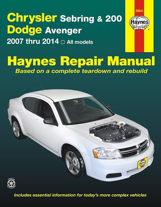 chrysler sebring 200 dodge avenger repair manual 2007 2014 2 0l rh themotorbookstore com