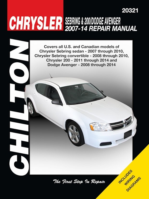 chrysler sebring 200 dodge avenger repair manual 2007 2014 chilton rh themotorbookstore com 2012 dodge avenger repair manual free 2008 2012 Dodge Cars