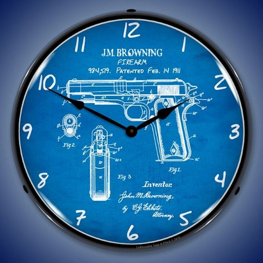 Colt 1911 Patent Wall Clock, LED Lighted