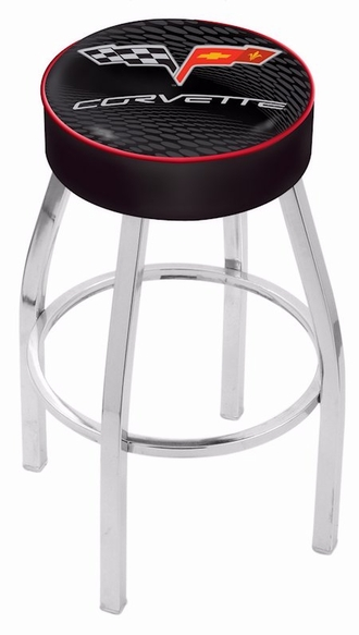 Corvette C6 Swivel Bar Stool, Chrome Base, Black Cushion