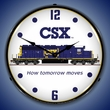 CSX Railroad Wall Clock, LED Lighted