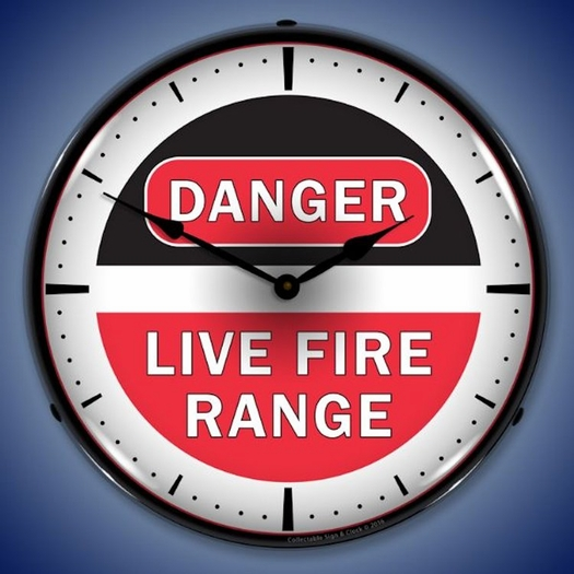Danger Live Fire Range Wall Clock, LED Lighted