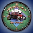 Deuces Wild Wall Clock, Lighted: Larry Grossman Art