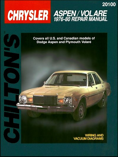 dodge aspen plymouth volare repair manual 1976 1980 chilton rh themotorbookstore com