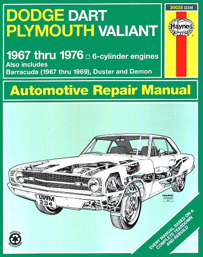 dodge dart plymouth valiant repair manual 1967 1976 haynes rh themotorbookstore com 1969 Dodge Charger R T 1968 dodge charger repair manual
