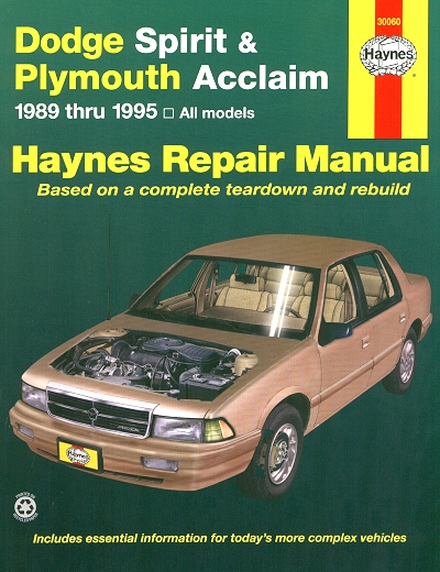 Dodge Spirit, Plymouth Acclaim Repair Manual 1989-1995
