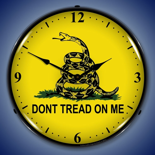 Don't Tread On Me Wall Clock, LED Lighted