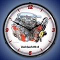 Dual Quad 409 cid V8 Engine Wall Clock, Lighted