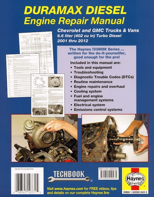 duramax diesel engine repair manual 2001 2012 gm 6 6l rh themotorbookstore com Chevy Duramax 02 Chevy Duramax