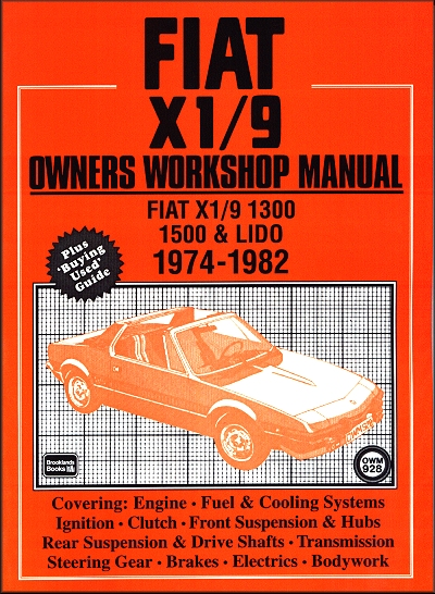 Fiat X1/9 1300, 1500, Lido Workshop Manual 1974-1982