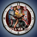 Fill Er Up Motorcycle Wall Clock, LED Lighted