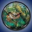 Fishing the Wood Largemouth Bass Wall Clock, LED Lighted
