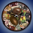 Football Early Days  Wall Clock, Lighted: Sports