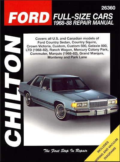 ford, mercury full-size car repair and service manual 1968-1988 by chilton