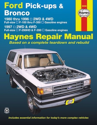 ford f100 f150 f250 f350 bronco repair manual 1980 1997. Black Bedroom Furniture Sets. Home Design Ideas