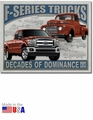 """Ford F-Series Trucks: Decades of Dominance\"" Tin Sign"