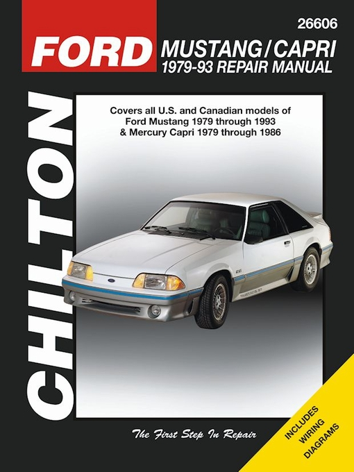 ford mustang repair service manual 1979 1993 chilton 26606. Black Bedroom Furniture Sets. Home Design Ideas