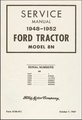 Ford Tractor Model 8N Service Manual 1948-1952
