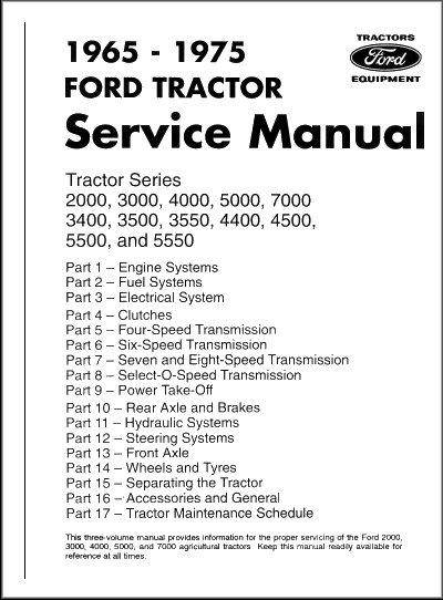 ford tractor service manual series 2000 7000 65 75 rh themotorbookstore com ford 2000 tractor shop manual ford 2000 tractor manual steering