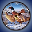Frosty Morning Ringnecks Pheasants Wall Clock, LED Lighted