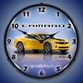 G5 Camaro Wall Clock, LED Lighted, Rally Yellow