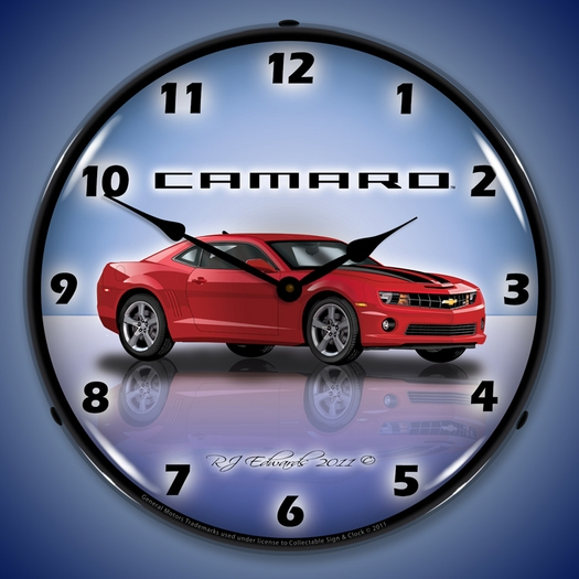 G5 Camaro Wall Clock, LED Lighted, Red Jewel