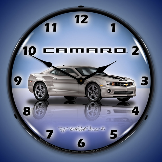 G5 Camaro Wall Clock, LED Lighted, Silver Ice