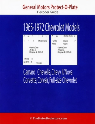 Gm chevy protect o plate decoder guide 1965 1972 models for General motors pricing strategy