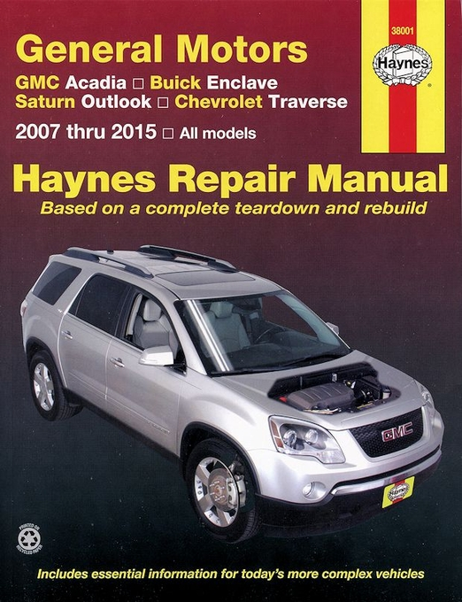 gm repair manual gmc acadia buick enclave outlook traverse 2007 2015 rh themotorbookstore com 2009 GMC Acadia Interior 2009 GMC Acadia Interior
