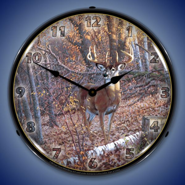 Hunting Fishing Wildlife Wall Clocks Lighted Dogs
