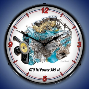 GTO Tri Power 389 cid V8 Engine Wall Clock, Lighted