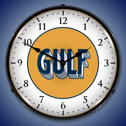 Gulf 1920 Wall Clock, LED Lighted