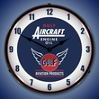 Gulf Aircraft Engine Oil Wall Clock, LED Lighted