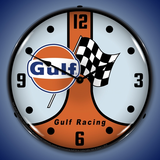 Gulf Racing GT40 Wall Clock, LED Lighted