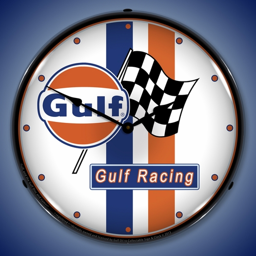 Gulf Racing Wall Clock, LED Lighted