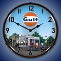 Gulf Station Wall Clock, LED Lighted