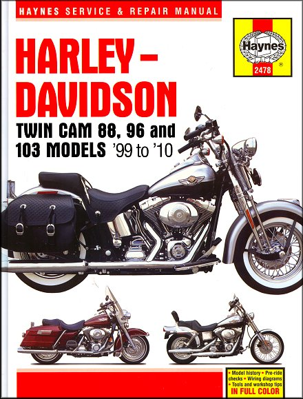 harley-davidson twin cam 88, 96, 103, softail, dyna, touring repair manual  1999-2010