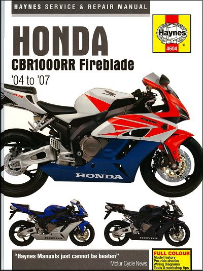 Honda CBR1000RR Fireblade Repair Manual 2004-2007